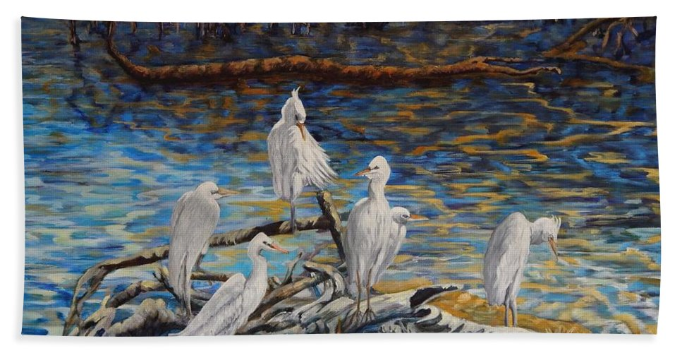 Egrets Beach Towel featuring the painting Yellow Billed Egrets On Driftwood by Caroline Street