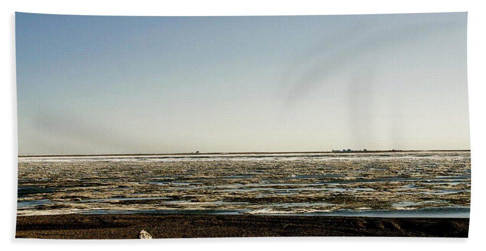 Driftwood Beach Towel featuring the photograph Driftwood On Arctic Beach by Anthony Jones