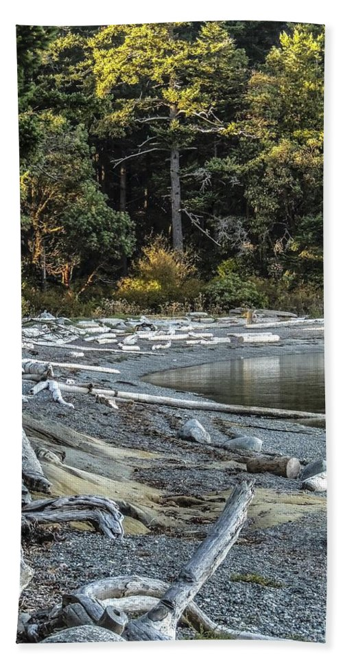 Driftwood Beach Towel featuring the photograph Driftwood On The Beach Sucia Island by NaturesPix