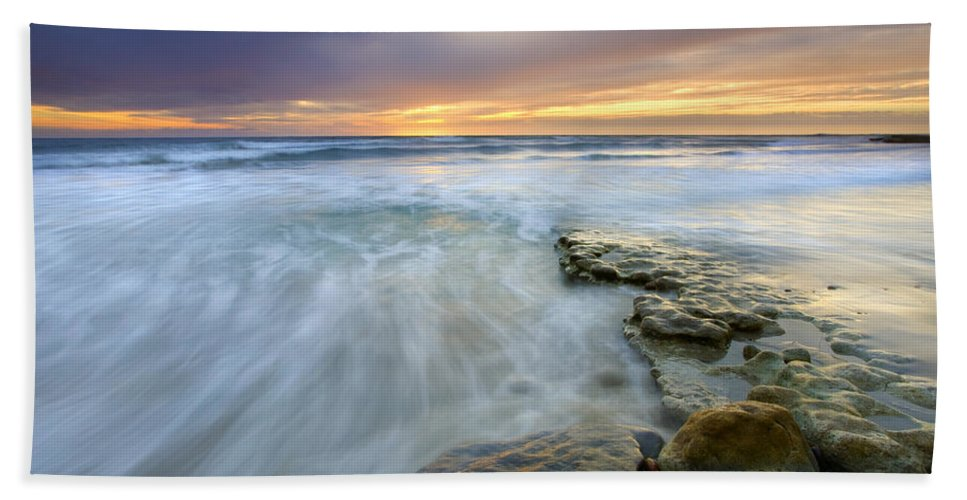 Rocks Beach Towel featuring the photograph Driven Before The Storm by Mike Dawson