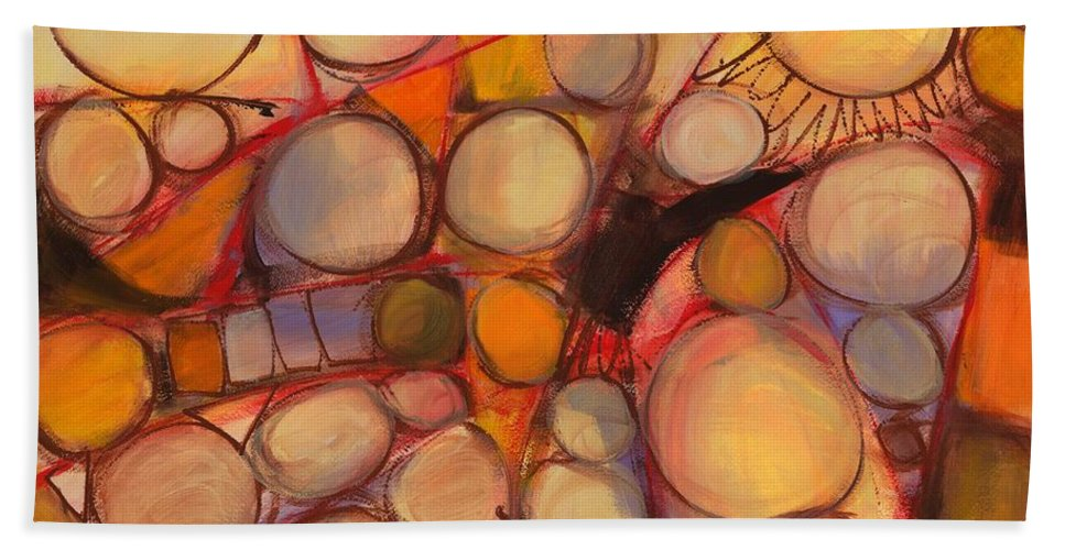 Abstract Beach Towel featuring the painting Driving The O Train by Lynne Taetzsch