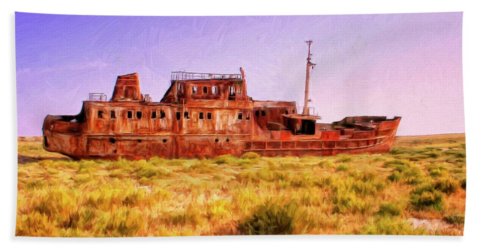 Rusty Hulk Beach Towel featuring the painting Dry Dock by Dominic Piperata