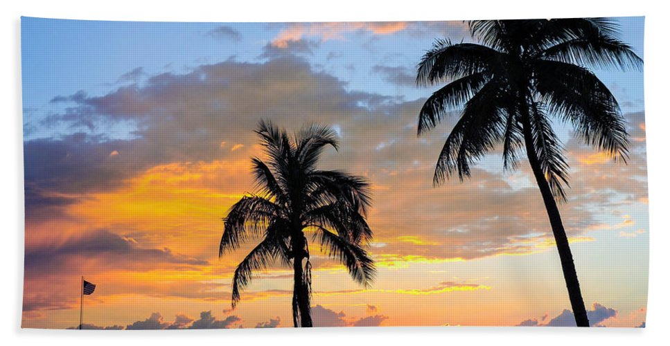 Sunset Beach Towel featuring the photograph Duality At Dusk by Marilee Noland