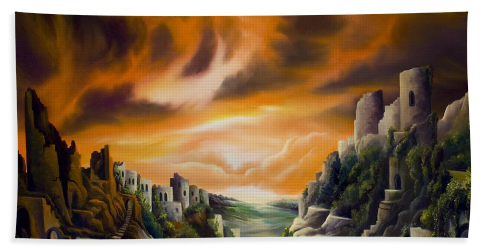 Ruins; Cityscape; Landscape; Nightmare; Horror; Power; Roman; City; World; Lost Empire; Dramatic; Sky; Red; Blue; Green; Scenic; Serene; Color; Vibrant; Contemporary; Greece; Stone; Rocks; Castle; Fantasy; Fire; Yellow; Tree; Bush Beach Towel featuring the painting DualLands by James Christopher Hill