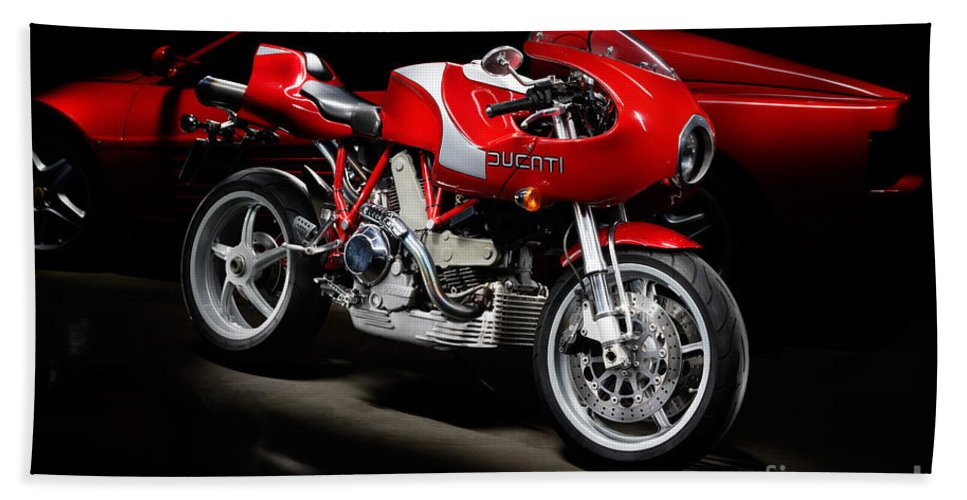 Motorcycle Beach Towel featuring the photograph Ducati Mhe And Ferrari by Frank Kletschkus