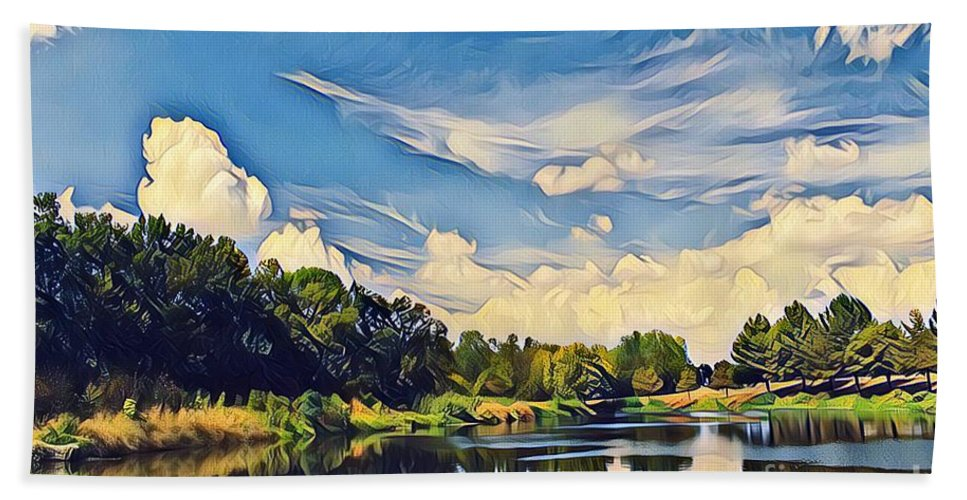 Cloudy Sky Beach Towel featuring the photograph Reflections At Duck Creek by Diane Miller