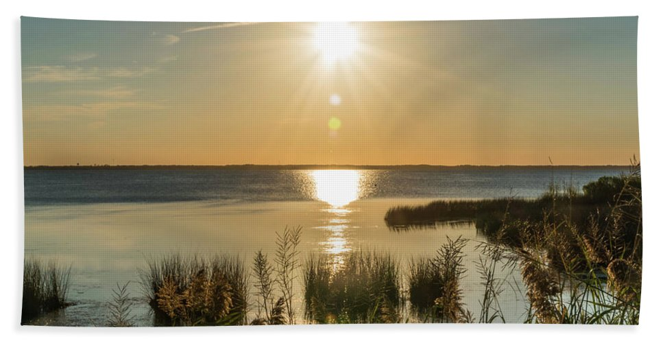 Sunset Beach Towel featuring the photograph Duck Town Sunset II by Thomas Morrow