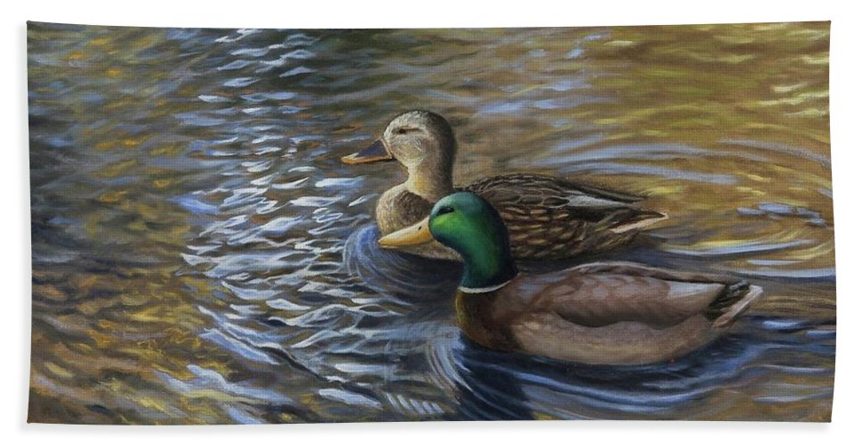 Ducks In The Pond Beach Towel featuring the painting Ducks In The Pond by Julia Strittmatter