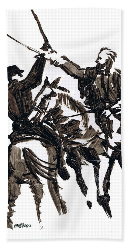 Civil War Beach Towel featuring the drawing Dueling Sabres by Seth Weaver