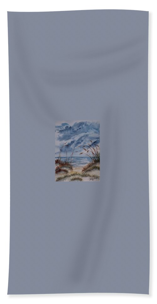 Watercolor Landscape Painting Seascape Beach Beach Towel featuring the painting Dunes Seascape Fine Art Poster Print Seascape by Derek Mccrea