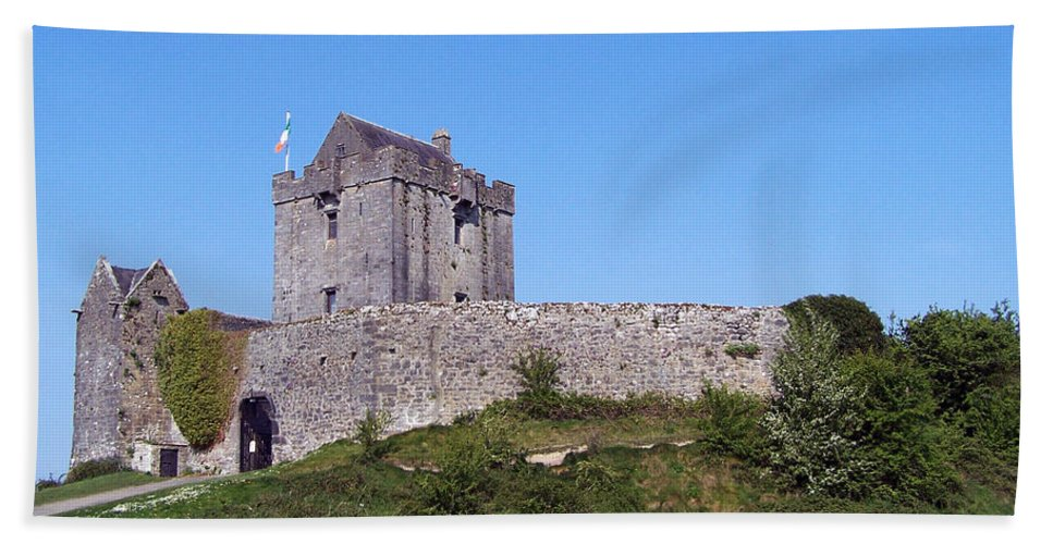 Irish Beach Towel featuring the photograph Dunguaire Castle Kinvara Ireland by Teresa Mucha