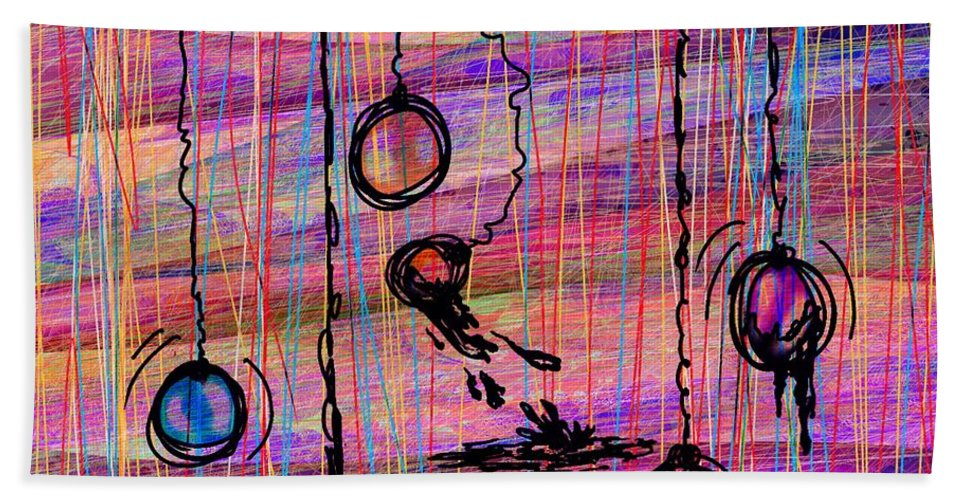 Abstract Beach Towel featuring the digital art Dunking Ornaments by Rachel Christine Nowicki