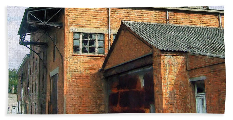 Old Foundry Building Beach Towel featuring the painting Dunkirk Foundry by Dominic Piperata