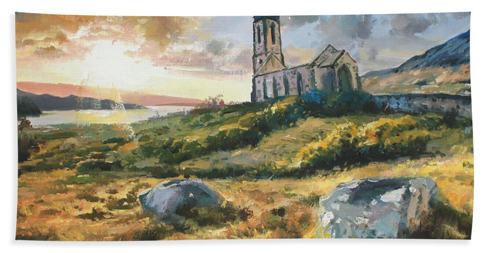 Sun Light Beach Towel featuring the painting Dunlewy Church by Conor McGuire