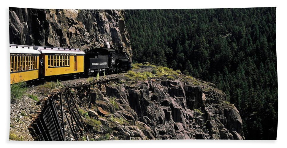 Durango & Silverton Train Rounding Curve Beach Towel featuring the photograph Durango - Silverton Train by Sally Weigand