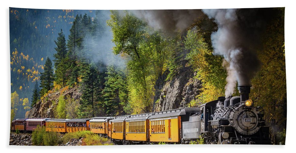 America Beach Towel featuring the photograph Durango-silverton Narrow Gauge Railroad by Inge Johnsson