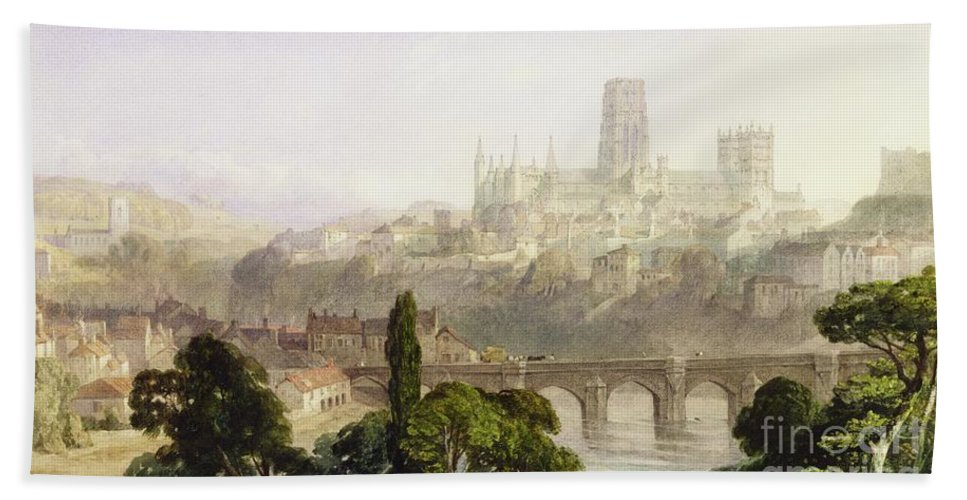 Durham Beach Towel featuring the painting Durham Cathedral by George Arthur Fripp