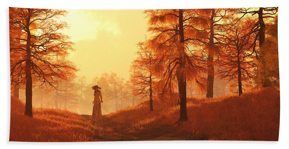Dusk Beach Towel featuring the digital art Dusk Approaches In Sleepy Hollow by Daniel Eskridge