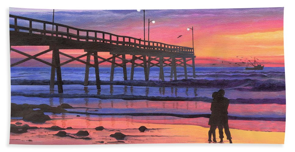 Dusk At The Pier Beach Towel featuring the painting Dusk At The Pier by Christopher Spicer