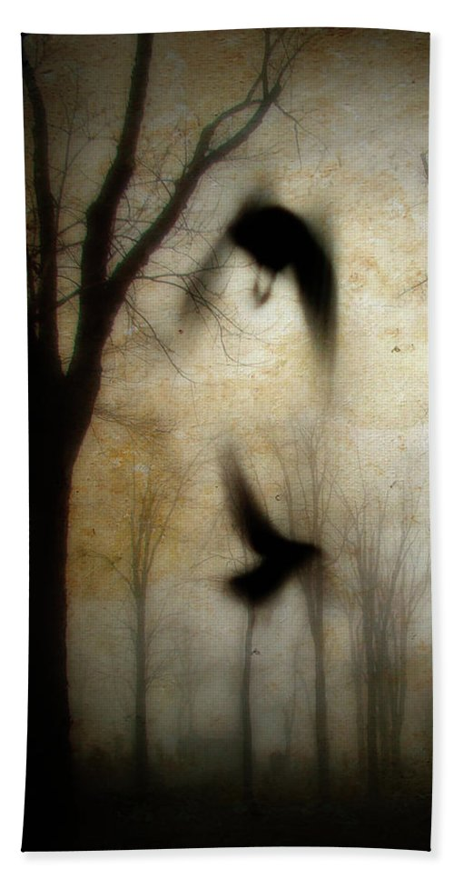 Trees Beach Towel featuring the photograph Dusk Begins As The Crows Fly by Gothicrow Images
