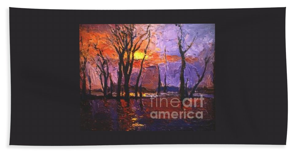 Dusk Beach Towel featuring the painting Dusk by Meihua Lu
