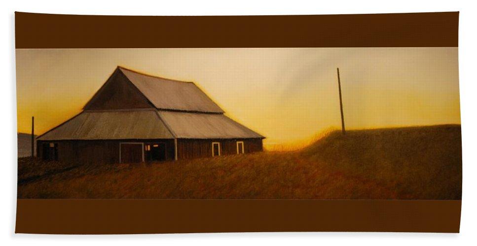 Sunrise Beach Towel featuring the painting Dusk near Union by Leonard Heid