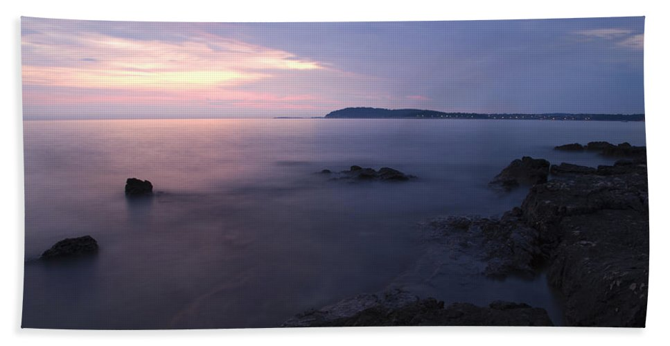 Sea Beach Towel featuring the photograph Dusk On Croatian Istria by Ian Middleton
