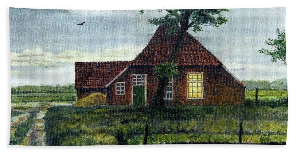 Farm Beach Towel featuring the painting Dutch Farm At Dusk by Arie Van der Wijst