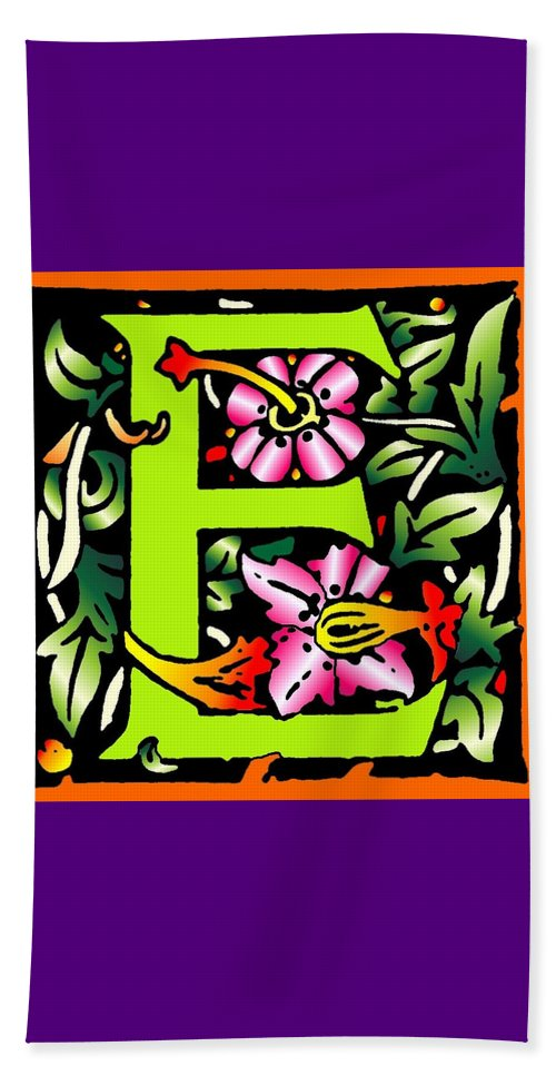 Alphabet Beach Towel featuring the digital art E In Green by Kathleen Sepulveda