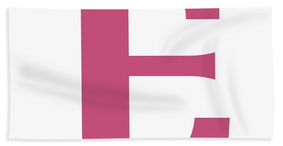 E Beach Towel featuring the digital art E In Pink Typewriter Style by Custom Home Fashions