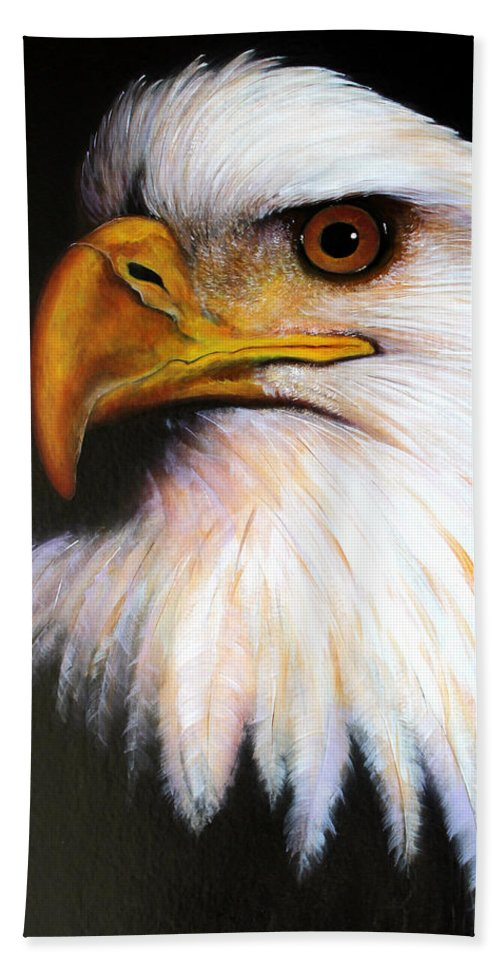 Eagle Beach Towel featuring the painting Eagle by Jon Quinn
