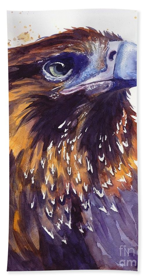 Pigeons Beach Towel featuring the painting Eagle's Head by Suzann Sines