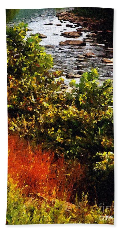 River Beach Towel featuring the painting Early Autumn Along The Naugatuck by RC DeWinter