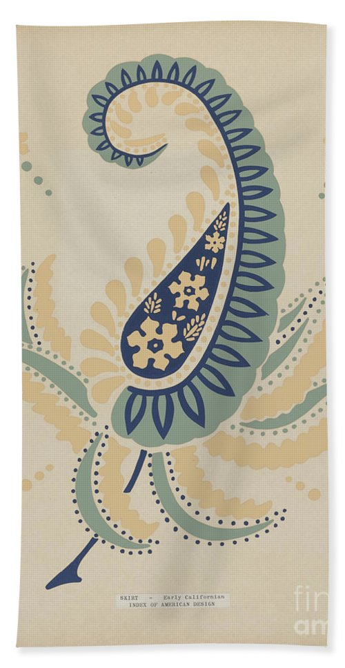 """Beach Towel featuring the drawing Early Californian Skirt From The Portfolio """"decorative Art Of Spanish California"""" by American 20th Century"""