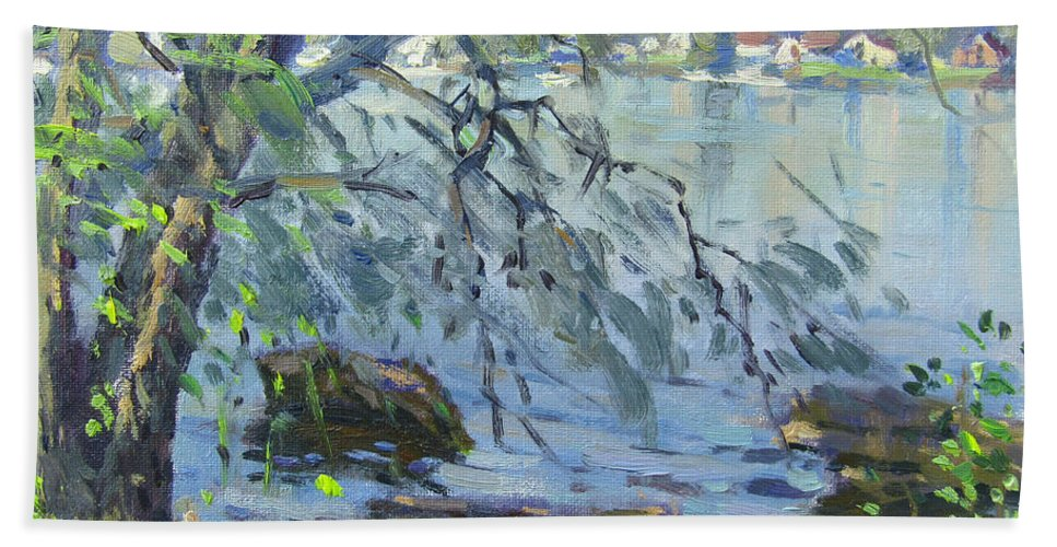 Early Morning Beach Towel featuring the painting Early Morning At Fisherman's Park by Ylli Haruni