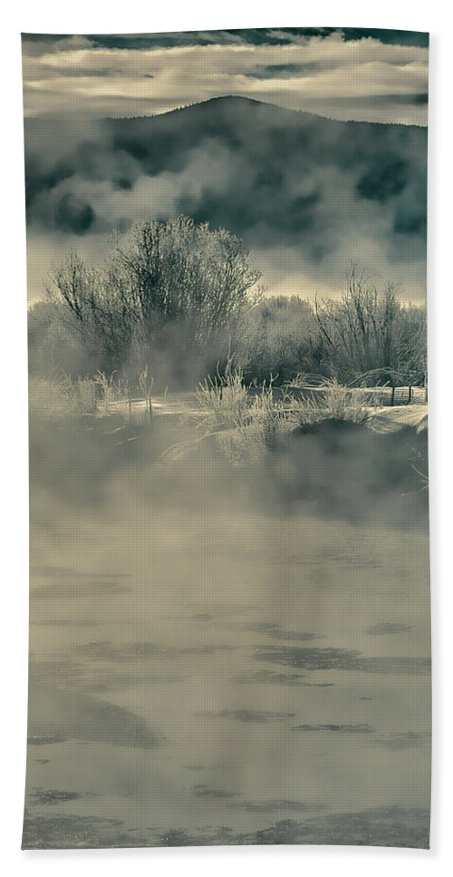 River Beach Towel featuring the photograph Early Morning Frost On The River by Don Schwartz