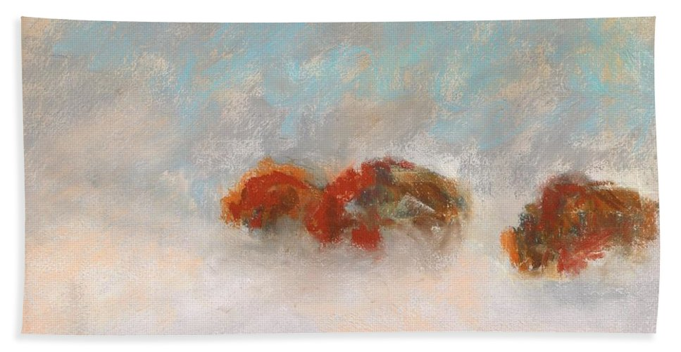 Bison Beach Towel featuring the painting Early Morning Herd by Frances Marino