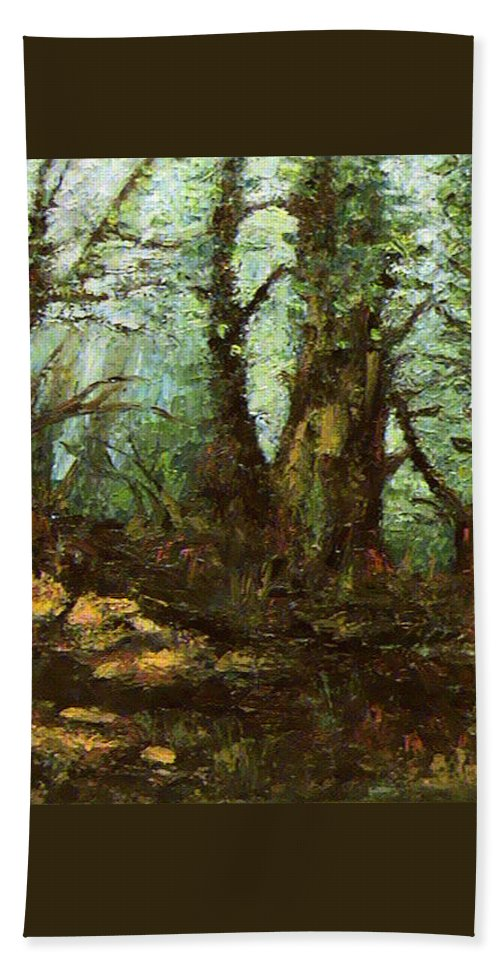 Landscape Beach Towel featuring the painting Early Morning In The Forest by Ioulia Sotiriou