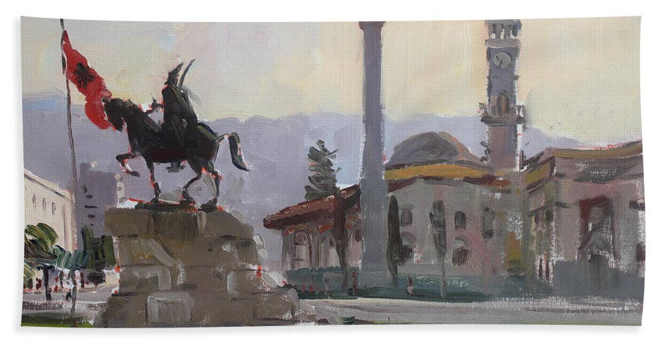 Tirana Beach Towel featuring the painting Early Morning In Tirana by Ylli Haruni