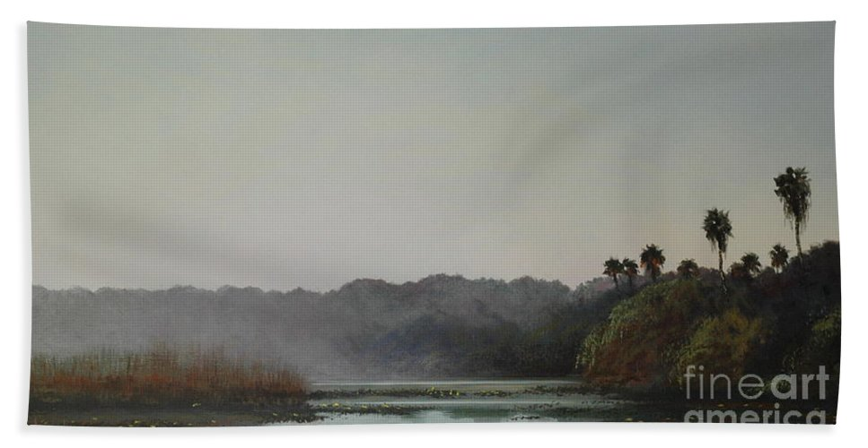 Lakes Beach Towel featuring the painting Early Morning Mist by Michael Nowak