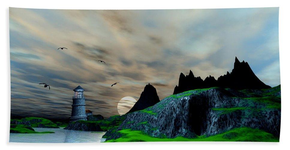 Beach Towel featuring the digital art Early Morning Ocean Lighthouse Scene by John Junek