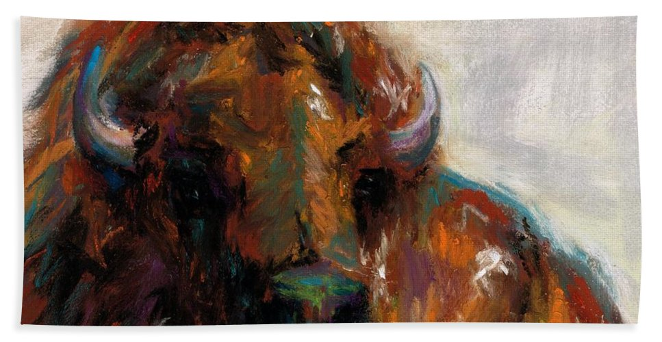 Buffalo Beach Towel featuring the painting Early Morning Sunrise by Frances Marino