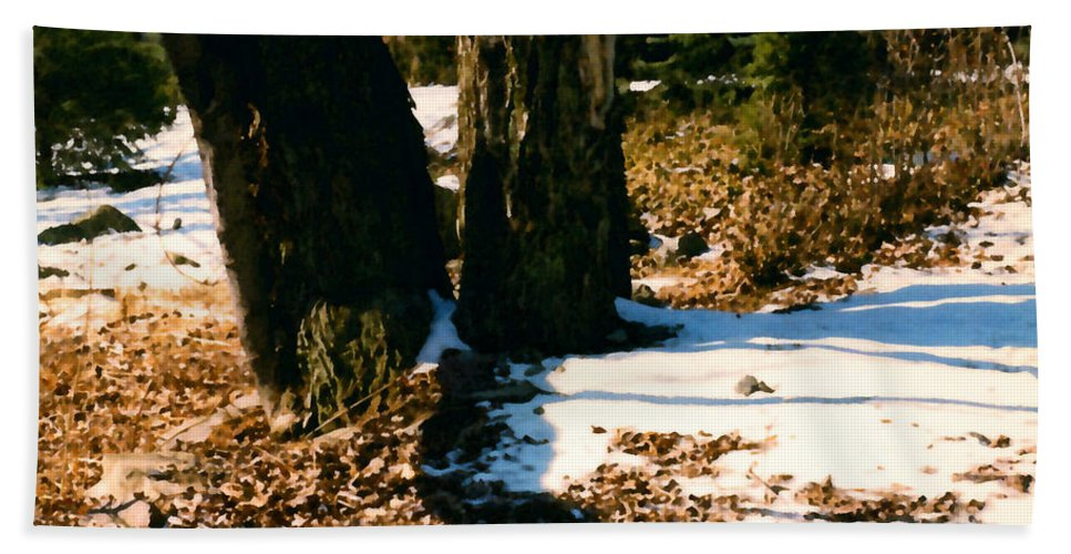 Winter Beach Towel featuring the painting Early Snow by Paul Sachtleben