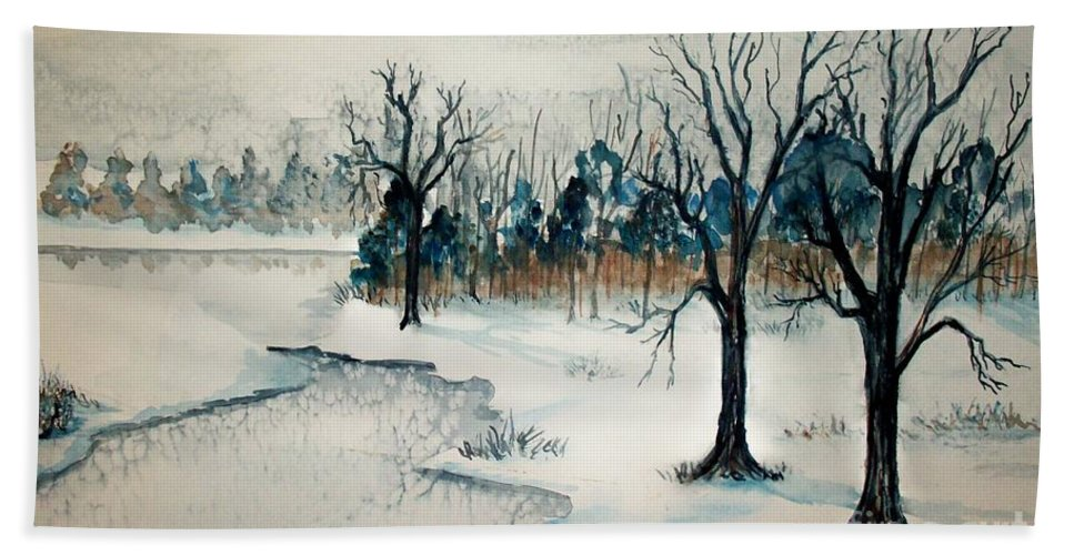Snow Beach Towel featuring the painting Early Snow by Sandra McClure