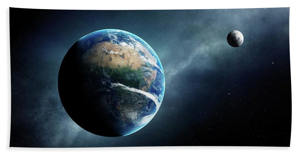 Earth Beach Towel featuring the digital art Earth And Moon Space View by Johan Swanepoel
