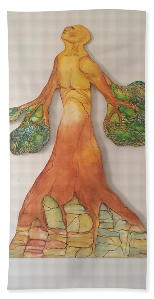 Elements Beach Towel featuring the painting Earth by Marilyn Green