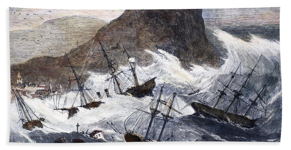 1868 Beach Towel featuring the photograph Earthquake And Tidal Wave by Granger