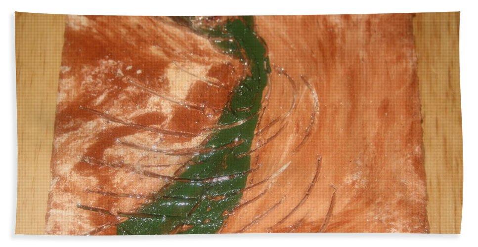 Jesus Beach Towel featuring the ceramic art Earths Wind - Tile by Gloria Ssali