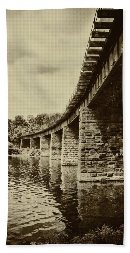 Bridge Beach Towel featuring the photograph East Falls Rail Road Bridge by Bill Cannon