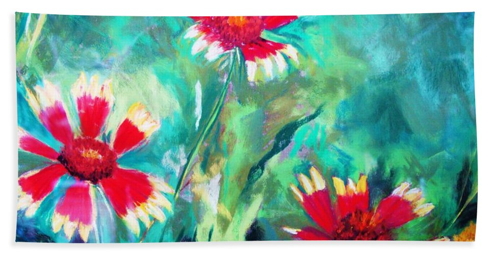 Flowers Beach Sheet featuring the painting East Texas Wild Flowers by Melinda Etzold
